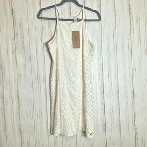 Anthro Paper Crane White Crochet Halter Dress